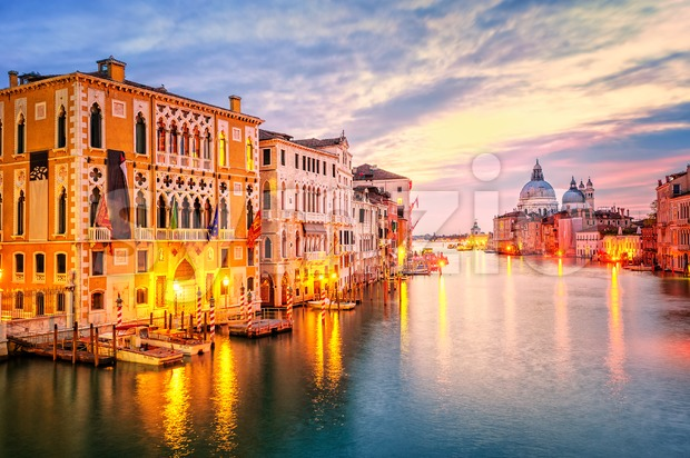 The Grand Canal and basilica Santa Maria della Salute on sunrise, Venice, Italy Stock Photo