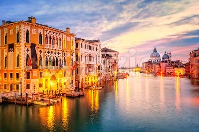 The Grand Canal and basilica Santa Maria della Salute on sunrise, Venice, Italy Stock Photo