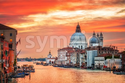 Canal Grande and basilica Santa Maria della Salute on sunrise, Venice, Italy Stock Photo