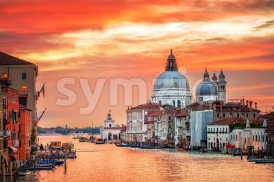 Canal Grande and basilica Santa Maria della Salute on sunrise, Venice, Italy Stock Photo