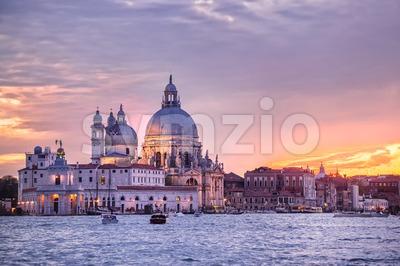 Santa Maria della Salute church on sunset, Venice, Italy Stock Photo