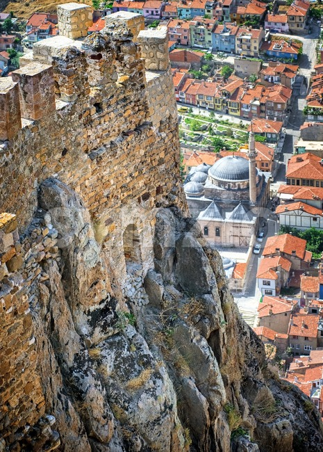 Karahisar castle walls on a hill over the old city of Afyon, Turkey Stock Photo