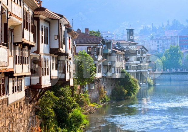 Traditional ottoman houses in Amasya, Turkey Stock Photo