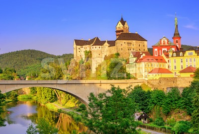 Castle Loket int the near of Karlovy Vary, Czech Republic Stock Photo