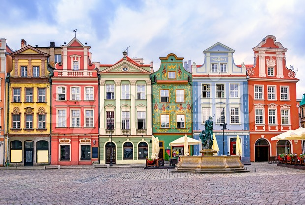 Colorful renaissance facades on the central market square in Poznan, Poland Stock Photo