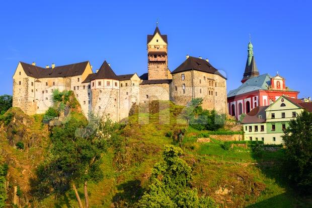 Loket Castle on sunset, Czech Republic Stock Photo