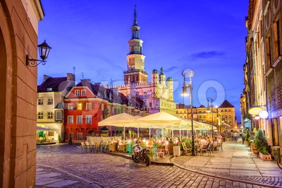 Main square of the old town of Poznan, Poland on a summer day evening. Stock Photo