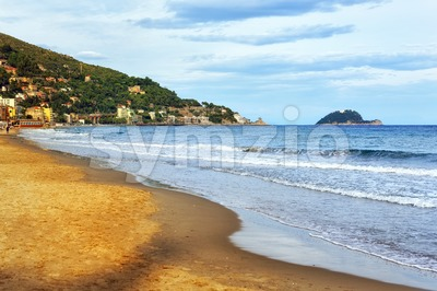 Sand beach on italian Riviera Stock Photo