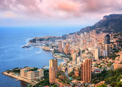 Principality of Monaco at sunrise Stock Photo