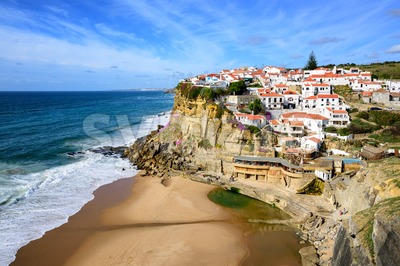 Azenhas do Mar, a little fishermen village on atlantic coast near Cabo da Roca, Portugal Stock Photo