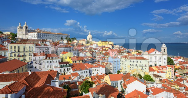 Panoramic view of Alfama quarter, Lisbon, Portugal Stock Photo