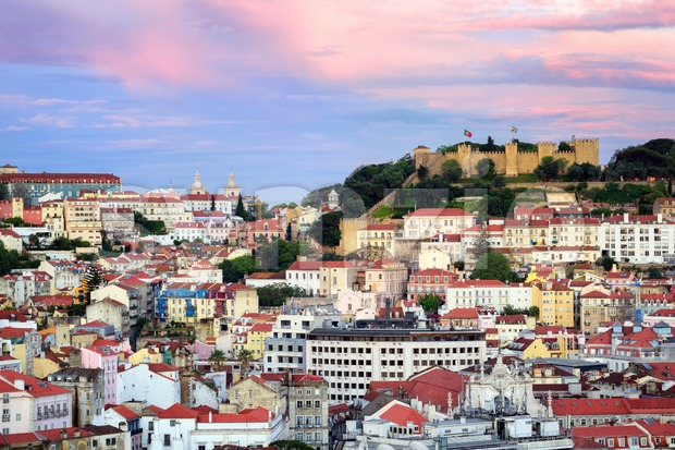Lisbon, Portugal, view to the Alfama quarter and St. Jorge Castle at sunset Stock Photo