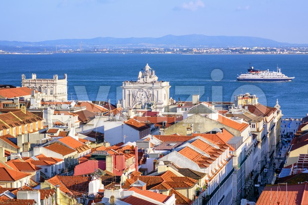 View over the roofs of downtown Lisbon to Tagus river, Portugal Stock Photo
