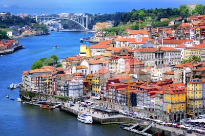 Ribeira, the old town of Porto, and the river Douro, Portugal Stock Photo