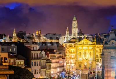Skyline of Porto at night, Portugal Stock Photo