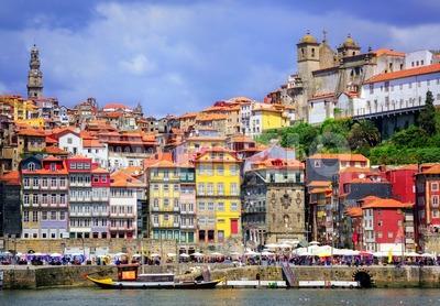 Ribeira, the old town of Porto, Portugal Stock Photo