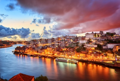 Dramatic sunset in Porto, Portugal Stock Photo