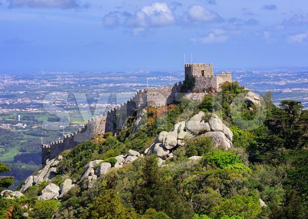 The Moorish castle, Sintra, Portugal Stock Photo