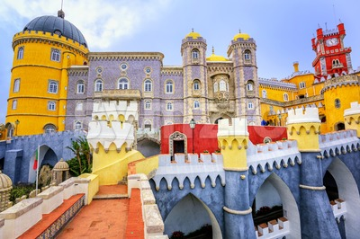 Colorful facade of Pena palace, Sintra, Portugal Stock Photo