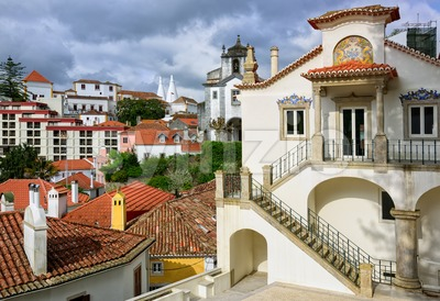 Sintra town, Portugal, the National Palace in background Stock Photo