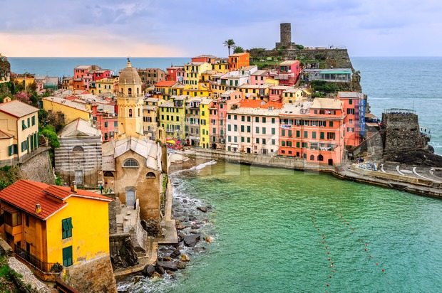 Vernazza, Cinque Terre, Italy, on sunset