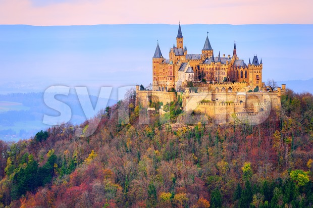 Hohenzollern castle, Stuttgart, Germany, in the early morning light Stock Photo