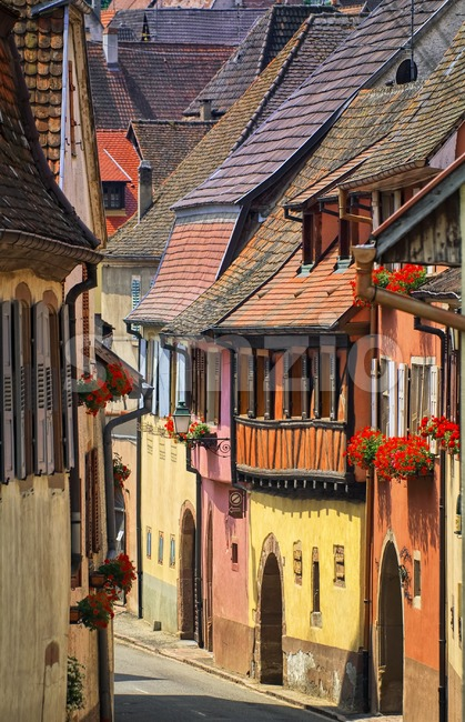 Colorful houses in a street in alcacian village by Colmar, Alsace, France Stock Photo