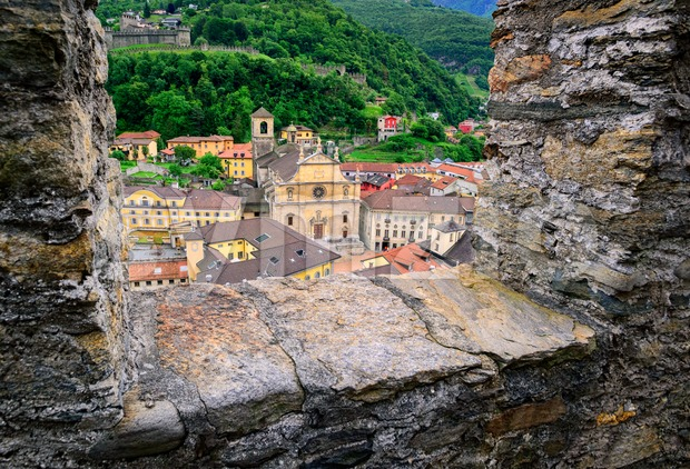Bellinzona, Switzerland, view through the castle walls to the old town Stock Photo