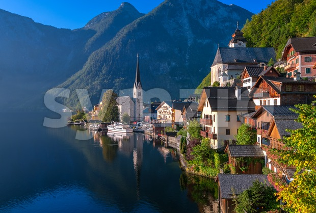 Idyllic alpine lake village Hallstatt,  Austria Stock Photo