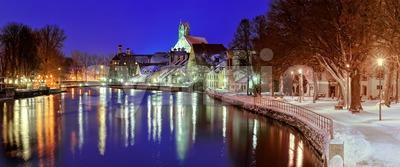 Gothic town Landshut on Isar river by Munich, Bavaria, Germany Stock Photo