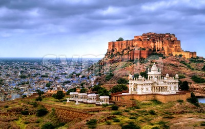 Mehrangharh Fort and Jaswant Thada mausoleum in Jodhpur, Rajasthan, India Stock Photo