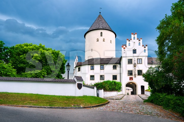 White gothic castle Kronwinkl in Bavaria, Germany Stock Photo