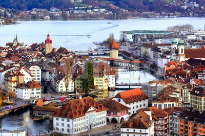 Old town of Lucerne with Chapel Bridge and Water tower, Switzerland Stock Photo
