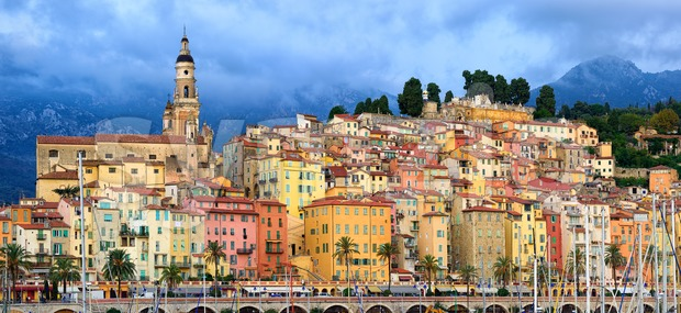 Panoramic view of the old town of Menton, Provence, France Stock Photo