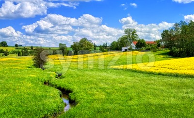 German countryside landscape with creek and yellow canola field Stock Photo
