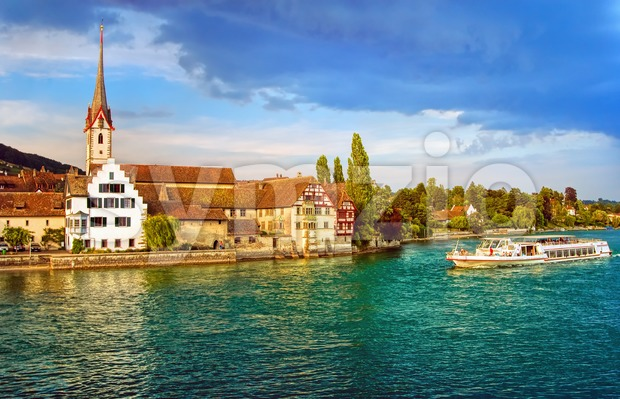 Cruise ship going down the Rhine river in Stein am Rhein, Switzerland Stock Photo