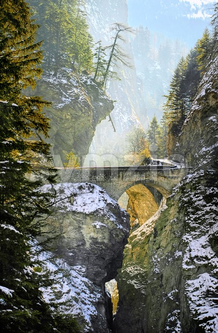 Bridge over Viamala gorge in Swiss Alps, Switzerland Stock Photo