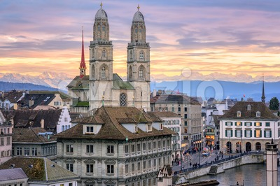 Zurich city center with snow covered Alps mountains in background, Switzerland Stock Photo