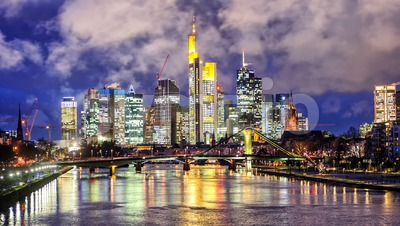 Skyline of Frankfurt on Main, Germany, in the evening Stock Photo