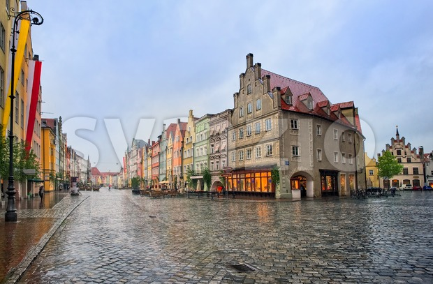 Old gothic street in bavarian town Landshut near Munich, Germany on a rainy day