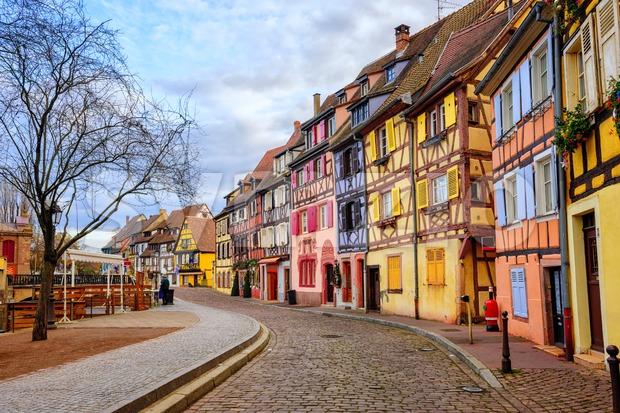 Colorful half-timbered facades in medieval Little Venice district, Colmar, Alsace, France