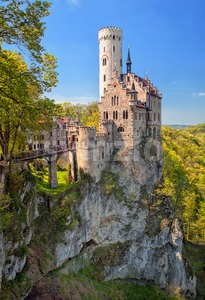 Romantic Lichtenstein Castle on the rock in Black Forest, Germany Stock Photo