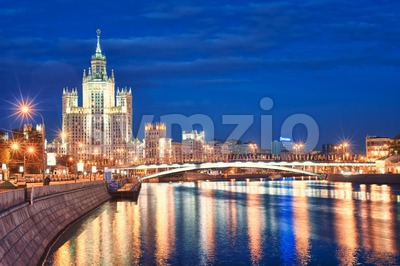 Moscow's historical skyscraper Kotelnicheskaya on Moskva river, Moscow, Russia Stock Photo