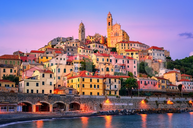 Cervo on mediterranean coast of Liguria, Italy Stock Photo