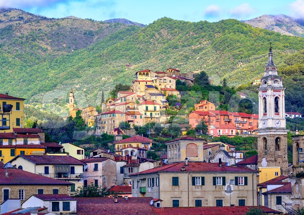 Dolcedo, little italian town hidden in the Maritime Alps mountain on Riviera by Imperia, Liguria, Italy