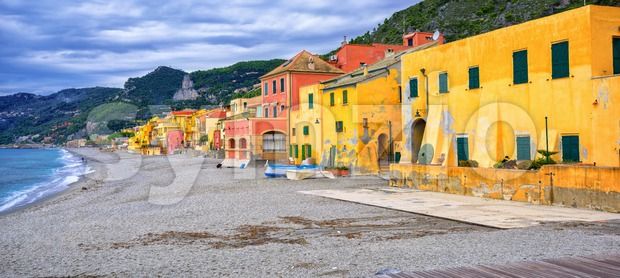 Colorful fisherman's houses on italian Riviera in Varigotti, Liguria, Italy Stock Photo
