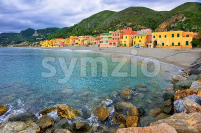 Colorful fisherman's houses on the sand beach lagoon Varigotti, Liguria, Italy Stock Photo