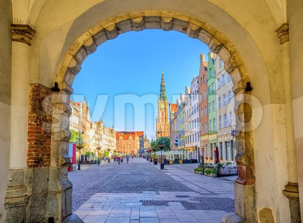 Colorful gothic facades int the old town of Gdansk, Poland Stock Photo