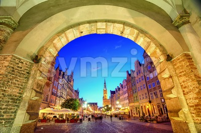 Main Town Hall in the old city of Gdansk, Poland Stock Photo