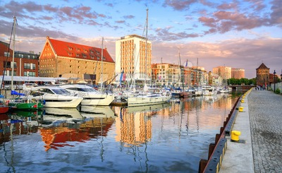 Yachts in old town port of Gdansk, Poland Stock Photo